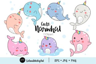 Cute Narwhal Clipart Graphic Illustrations By CatAndMe