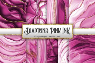 Print on Demand: Diamond Pink Ink Glitter Digital Papers Graphic Backgrounds By PinkPearly
