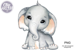 Print on Demand: Elephant Neutral Cream Ears PNG Images Graphic Illustrations By clipArtem
