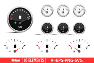 Fuel Gauge Clipart Set Graphic Illustrations By Emil Timplaru Store