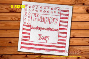 Happy Independence Day with Flag Redwork Independence Day Embroidery Design By Redwork101
