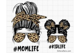 Print on Demand: Leopard Messy Bun Momlife Svg, Mom Life Graphic Crafts By SVGcrafters