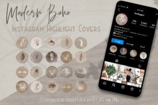 Print on Demand: Modern Boho IG Highlight Covers Icon Set Graphic Web Elements By Jennadesigns