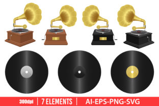Realistic Gramophone Clipart Set Graphic Illustrations By Emil Timplaru Store