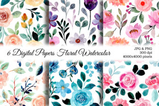 Print on Demand: Seamless Pattern Floral Watercolor 137 Graphic Patterns By asrulaqroni