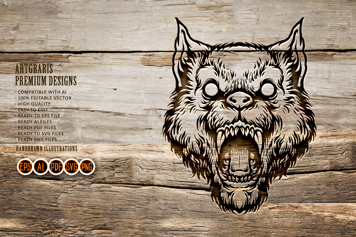 Silhouette Angry Wolf Head SVG Clipart SVG File