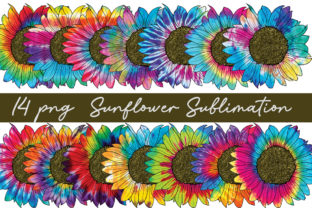 Print on Demand: Tie Dye Sunflower Sublimation Bundle Graphic Print Templates By Arinnnnn Design