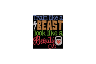 Train Like a Beast Wellness Stickdesign von Wingsical Whims Designs