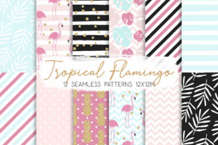 Print on Demand: Tropical Flamingo Seamless Pattern 01 Graphic Patterns By MutchiDesign