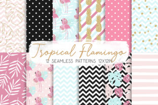 Print on Demand: Tropical Flamingo Seamless Pattern 02 Graphic Patterns By MutchiDesign