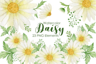 Print on Demand: Watercolor Daisy Clipart Graphic Illustrations By Kira Art Story