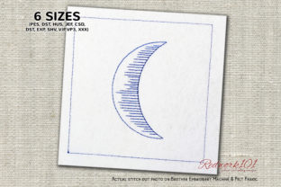 Waxing Crescent Moon Redwork Cities & Villages Embroidery Design By Redwork101