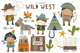 Print on Demand: Wild West Clipart Set Graphic Illustrations By poppymoondesign