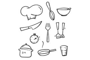 Print on Demand: Doodle Cooking Line Graphic Icons By GwensGraphicstudio