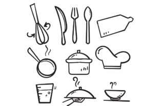 Print on Demand: Doodle Cooking Line Graphic Illustrations By GwensGraphicstudio
