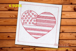 4th of July USA Flag in Heart Shape Independence Day Embroidery Design By Redwork101