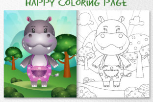 A Cute Hippo Animal 7 - Coloring Page Graphic Coloring Pages & Books Kids By wijayariko