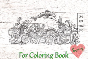 Abstract Dolphins for Coloring Book Graphic Coloring Pages & Books Adults By somjaicindy