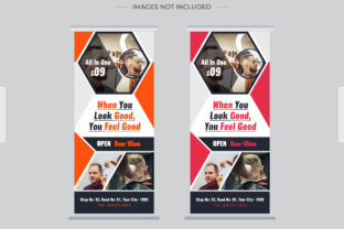 Print on Demand: Barbar Saloon Roll Up Banner Dl Flyer Graphic Print Templates By grgroup03