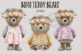 Boho Woodland Teddy Bear Clipart Graphic Illustrations By Celebrately Graphics