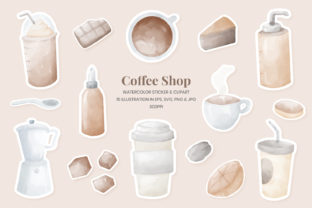 Print on Demand: Coffee Shop Watercolor Clipart & Sticker Graphic Illustrations By Helotype