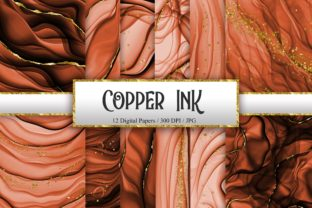 Print on Demand: Copper Ink Glitter Digital Papers Graphic Backgrounds By PinkPearly