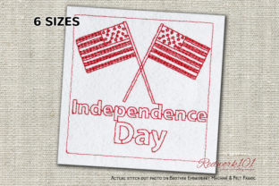 Crossed Flags of USA Independence Day Independence Day Embroidery Design By Redwork101