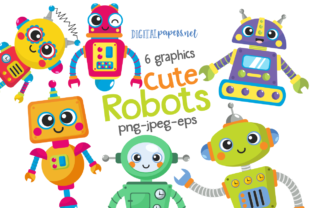 Print on Demand: Cute Robots Clipart Set Graphic Illustrations By DigitalPapers