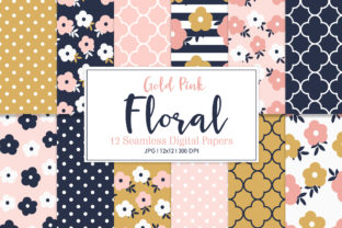 Digital Seamless Paper Gold Pink Floral Graphic Patterns By Sweet Shop Design
