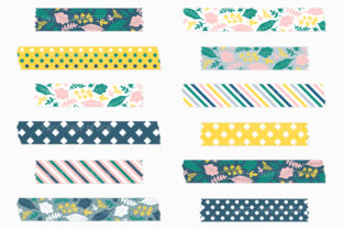Digital Washi Tape Clipart FRESH FLORAL Graphic Illustrations By Sweet Shop Design 3