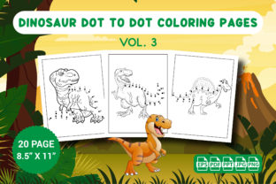 Dinosaur Dot to Dot Coloring Pages Vol.3 Graphic KDP Interiors By Vibgyor