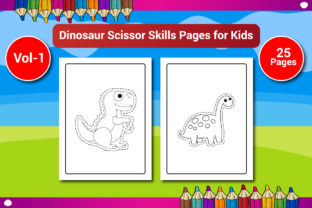 Dinosaur Scissor Skills Pages for Kids Graphic KDP Interiors By Sharif54