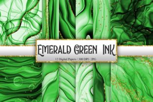 Print on Demand: Emerald Green Ink Glitter Digital Papers Graphic Backgrounds By PinkPearly