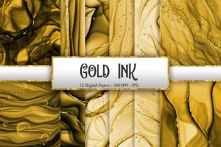 Print on Demand: Gold Ink Glitter Digital Papers Graphic Backgrounds By PinkPearly