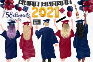 Print on Demand: Graduation Clipart Students Clipart Graphic Illustrations By LeCoqDesign