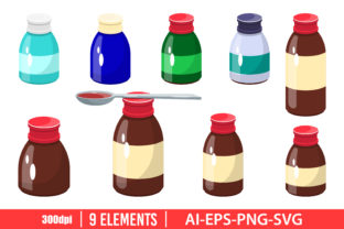Medicine Syrup Bottle Clipart Set Graphic Illustrations By Emil Timplaru Store
