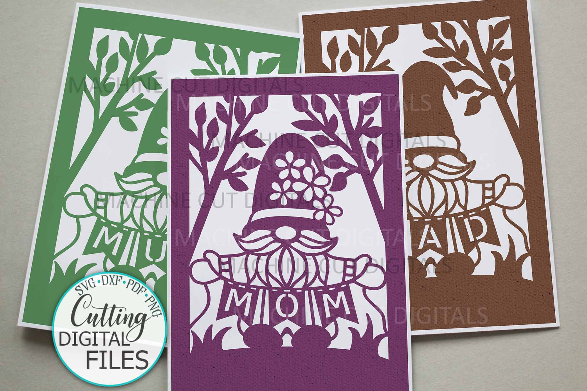Mom Mum Dad Svg Cut out Card SVG File