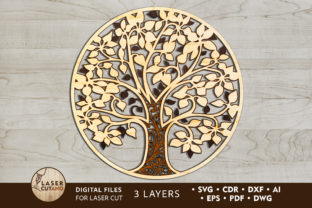 Print on Demand: Multilayer Cut File TREE for Laser Cut Graphic Crafts By LaserCutano