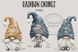 Rainbows and Stars Gnomes Graphic Illustrations By Celebrately Graphics