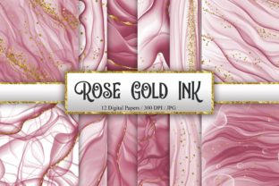Print on Demand: Rose Gold Ink Glitter Digital Papers Graphic Backgrounds By PinkPearly