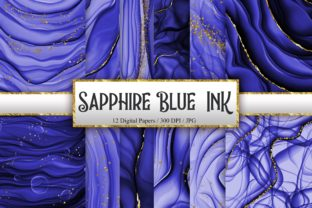 Print on Demand: Sapphire Blue Ink Glitter Digital Papers Graphic Backgrounds By PinkPearly