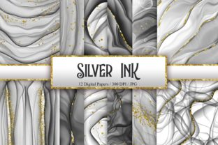 Print on Demand: Silver Ink Glitter Digital Papers Graphic Backgrounds By PinkPearly