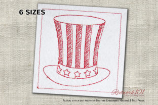 USA Top Hat for Independence Day Redwork Independence Day Embroidery Design By Redwork101