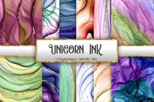 Print on Demand: Unicorn Ink Glitter Digital Papers Graphic Backgrounds By PinkPearly