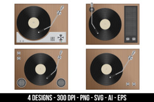 Vintage Record Player Graphic Illustrations By Creativeclipcloud