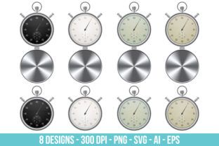 Vintage Stopwatch Clipart Set Graphic Illustrations By Creativeclipcloud