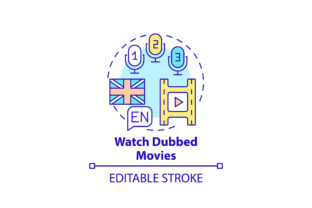 Print on Demand: Watching Dubbed Movies Concept Icon Graphic Icons By bsd studio