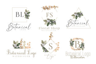 Watercolor Botanical Logo Kit Pack Grafik Logos von Dzynee