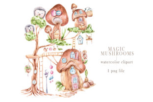 Print on Demand: Watercolor Magic Mushroom House Clipart. Graphic Illustrations By Tiana Geo