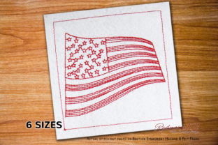 Wavy American Flag for Independence Day Día de la Independencia Diseños de bordado Por Redwork101